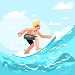 Surfer chatacter surfboard ride water sea ocean wave flat design