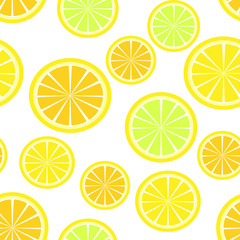 Orange, lemon. Seamless pattern. Vector illustration.