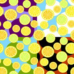 Orange, lemon. Seamless pattern. Vector illustration.