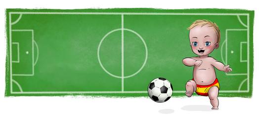 Cute Baby playing football - Spain