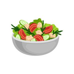 Appetizing salad in big ceramic bowl. Tasty and healthy eating. Delicious meal for dinner. Flat vector design