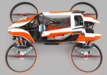 Compact single-seater quadrocopter for private use. Small urban vehicle with an electric motor.