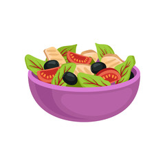 Purple ceramic bowl with fresh salad. Organic and healthy food. Appetizing dish. Flat vector for menu or promo poster