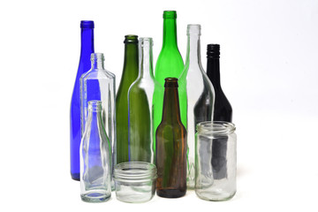 recycling glass on white background