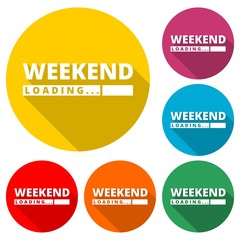 Loading Weekend icon, color icon with long shadow