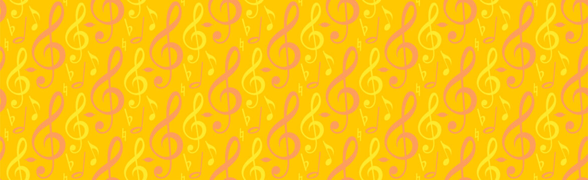 Seamless background with music notes. Colorful. Template for graphic design, packaging, advertising and web design. Abstract yellow vector background