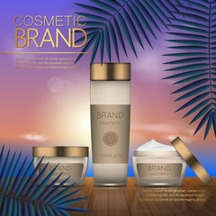 Summer cosmetic template on the sunset beach with exotic palm leaves background. Realistic 3D design.