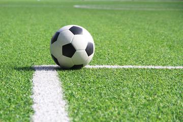Soccer ball on grass field stadium