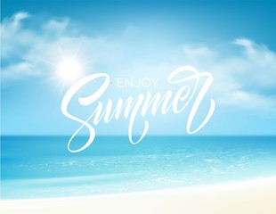 Summer lettering on the sea background. Vector illustration