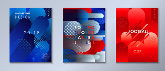 Soccer world international competition abstract brochure covers, banners set. Dynamic concept modern design, sports, football symbols, soccer ball, russian flag pattern vector