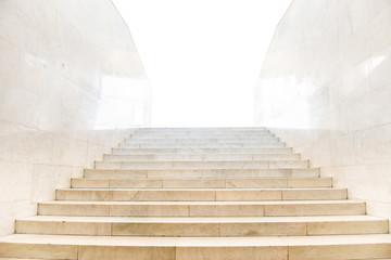 Marble staircase with stairs in abstract luxury architecture isolated on white background