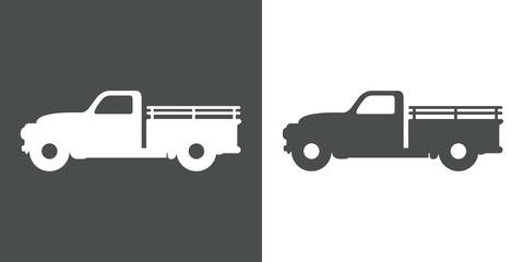 Icono plano camión pickup vintage en gris y blanco