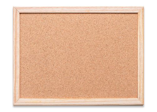 Blank cork board mock up with corkboard texture background with wooden frame hanging on white wood wall (isolated with clipping path) for bulletin mockup, memo or noticeboard announcement