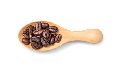 Top view of coffee bean on wooden spoon isolated on a white background.