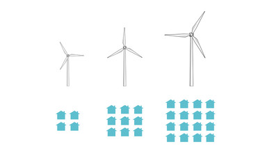 Vector image of wind turbines and houses increasing in size and number