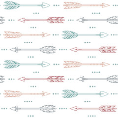 Seamless pattern with tribal arrows in pastel colors. Ethnic, boho style background