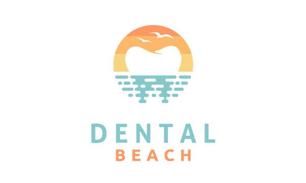 Modern Dental on the Beach logo design inspiration