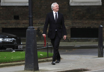 Britain's Secretary of State for Departing the EU David Davis arrives in Downing Street in London