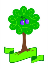 Stylized plum tree logo. Young  tree with green leafs, roots and plums. Isolated vector illustration.