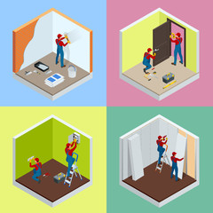 Home repair isometric concept set with workers, tools, equipment isolated on white. Building, construction and home repair tools. Vector flat isometric illustration.