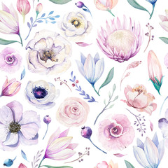 Seamless spring lilac watercolor floral pattern on a white background. Pink and rose flowers, weddind decoration illustration.