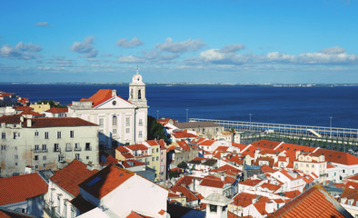 Views from Santa Luzia viewpoint. Lisbon, Portugal town skyline at Alfama and Tagus River.