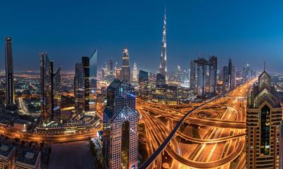 Dubai skyline during sunrise, United Arab Emirates.