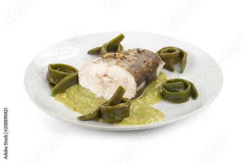 f9ddb0a918 Tranci di ombrina boccadoro al forno con scorza di limone di rocca  imperiale su crema di taccole