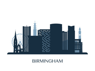 Birmingham skyline, monochrome silhouette. Vector illustration.