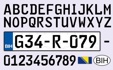 Bosnia and Herzegovina car plate, letters, numbers and symbols