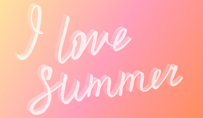 I love summer hand drawn brush lettering with 3d effect. Hand written calligraphy style.