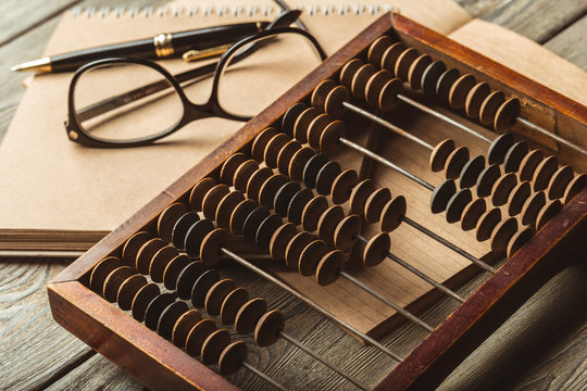 Vintage abacus close up