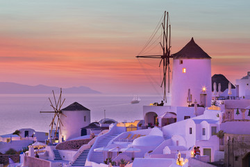 The famous sunset at Santorini in Oia village
