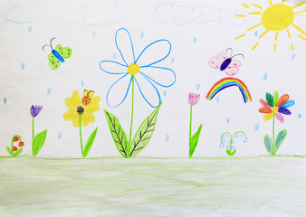 Childish drawing of clearing with flowers rainbow and butterflies