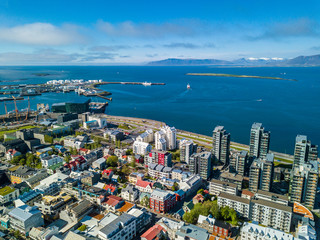 Aerial view to Reykjavik down town. Iceland city. Summer time daylight. View from the top