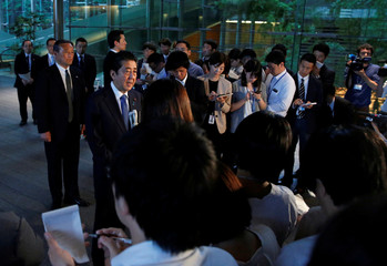 Japan's Prime Minister Shinzo Abe speaks to media after the news conference by the U.S. President Donald Trump, after the summit between the U.S. and North Korea, in Tokyo