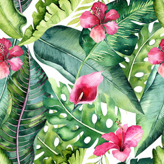 Tropical seamless floral summer pattern background with tropical palm leaves, pink flamingo bird, exotic hibiscus. Perfect for jungle wallpapers, fashion textile design, fabric print.