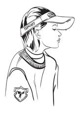 Fashion Girl. Girl in a cap Urban style