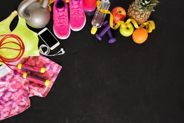 Fitness objects on dark floor