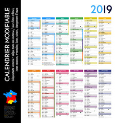 Calendrier 2019 sur 12 mois MODIFIABLE avec calques textes vectorisés et non vectorisés / Calendrier scolaire jusque congés d'été