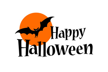 Happy Halloween Text Banner with a bat