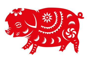Red paper cut pig zodiac sign