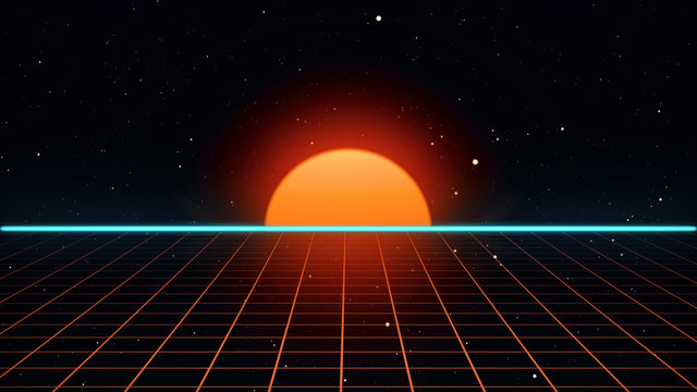 Retro futuristic 80s VHS tape video game intro landscape. Flight over the neon grid with sunrise and stars. Arcade vintage stylized sci-fi VJ motion 3d illustration in 4K