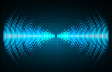 Sound waves oscillating dark blue light, Abstract technology background. Vector. loudspeaker