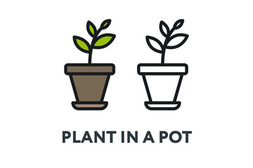 Green Plant in a Pot. Garden Interior Furniture Concept. Minimal Color Flat Line Outline Stroke Icon.
