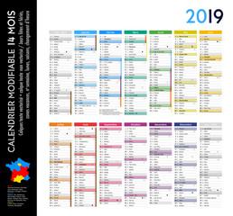 Calendrier 2019 sur 14 mois MODIFIABLE avec calques textes vectorisés et non vectorisés / Calendrier scolaire jusque congés d'été