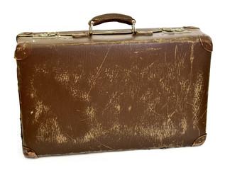 Old suitcase, travel item, luggage or baggage. Vintage suitcase, retro, leather suitcase, isolated on white background.