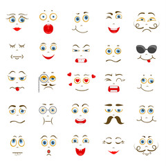 Set of vector smileys. Characters with different facial expressions. Collection of emotions.