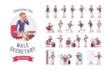 Male office secretary ready-to-use character set