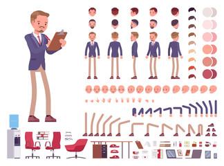 Male office secretary character creation set